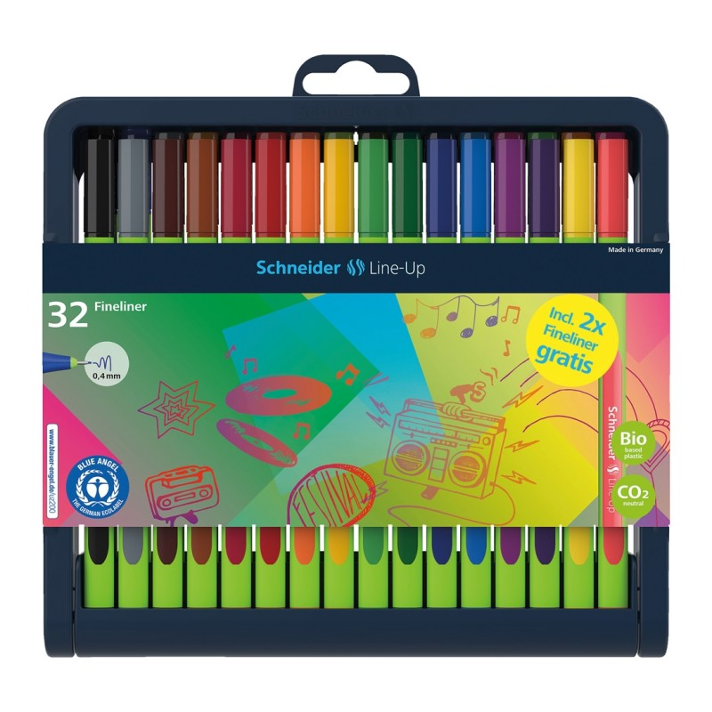 Line-Up Fineliners 0.4mm with Case stand, 32 pieces