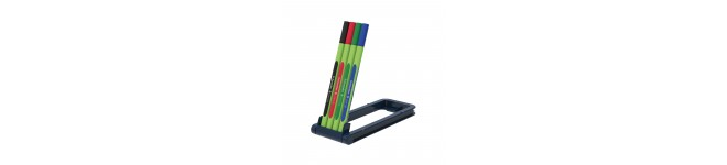 Line-Up Fineliners 0.4mm with Case stand, 4 pieces