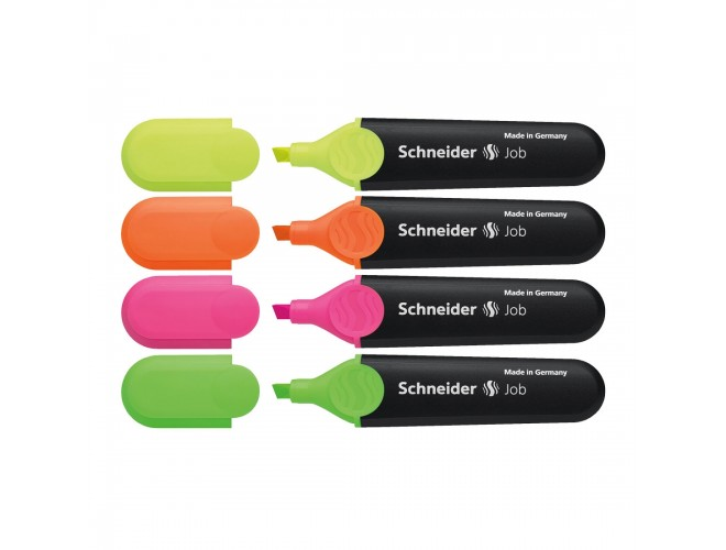 Job Highlighters, Wallet 4 pieces - Assorted